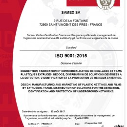 Certificat ISO 9001 version 2015